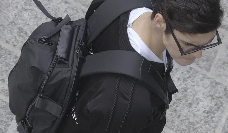 backpack avantgarde man style