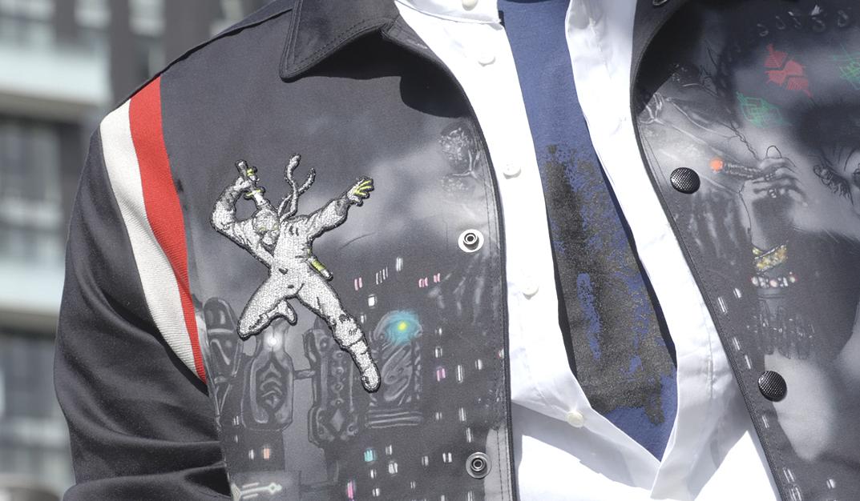 jacket detail of avant-garde man's outfit from Daad Dantone